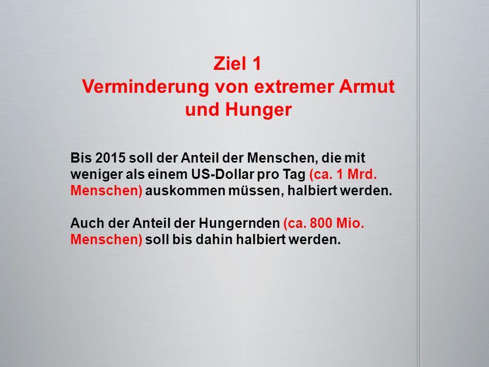 Ziel 1 Verminderung von extremer Armut und Hunger Bis 2015 soll der Anteil der Menschen, die mit weniger als einem US-Dollar pro Tag (ca. 1 Mrd. Mensc