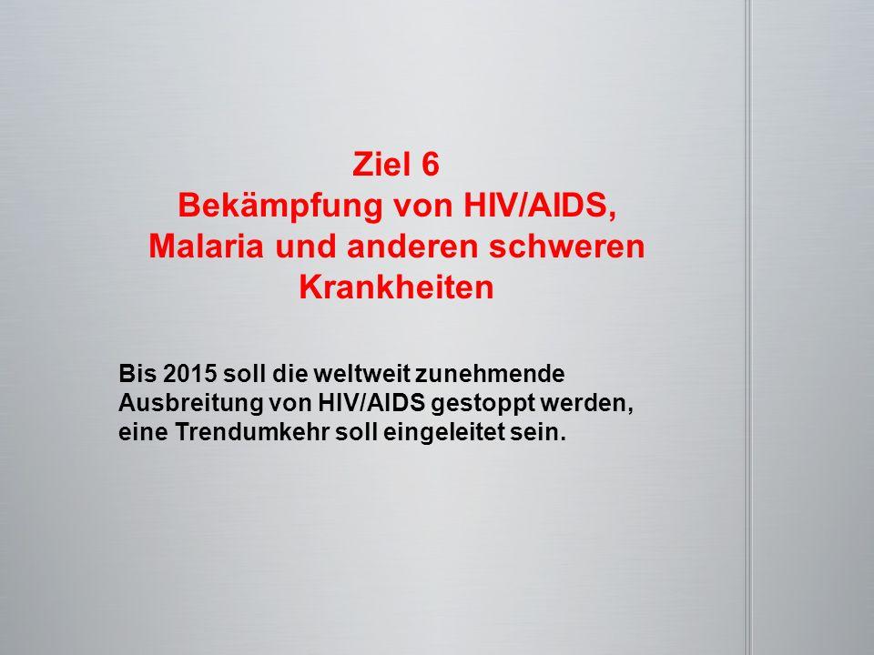 Ziel 6 Bekämpfung von HIV/AIDS, Malaria und anderen schweren Krankheiten Bis 2015 soll die weltweit zunehmende Ausbreitung von HIV/AIDS gestoppt werde