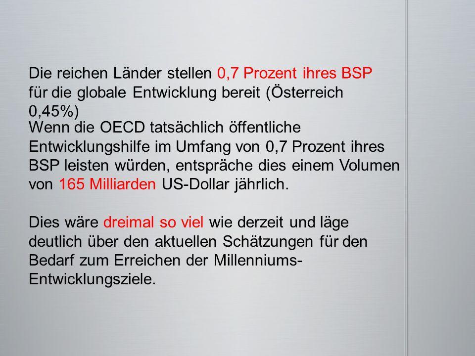 Die reichen Länder stellen 0,7 Prozent ihres BSP für die globale Entwicklung bereit (Österreich 0,45%) Wenn die OECD tatsächlich öffentliche Entwicklu
