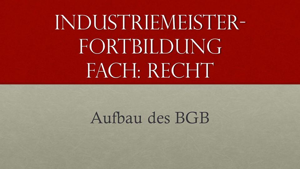 Industriemeister- Fortbildung Fach: Recht Aufbau des BGB