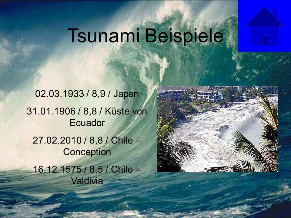 Tsunami Beispiele 02.03.1933 / 8,9 / Japan 31.01.1906 / 8,8 / Küste von Ecuador 27.02.2010 / 8,8 / Chile – Conception 16.12.1575 / 8,5 / Chile – Valdivia