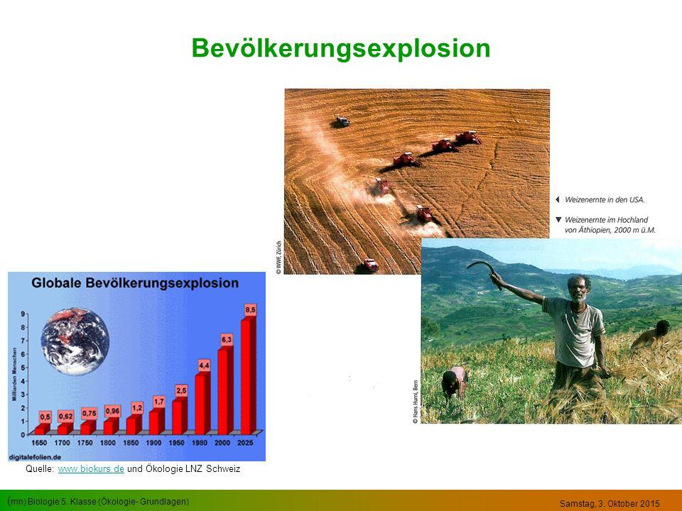 ( mn) Biologie 5. Klasse (Ökologie- Grundlagen) Samstag, 3. Oktober 2015 Bevölkerungsexplosion Quelle: www.biokurs.de und Ökologie LNZ Schweizwww.biok