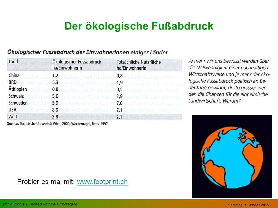 ( mn) Biologie 5. Klasse (Ökologie- Grundlagen) Samstag, 3. Oktober 2015 Der ökologische Fußabdruck Probier es mal mit: www.footprint.chwww.footprint.