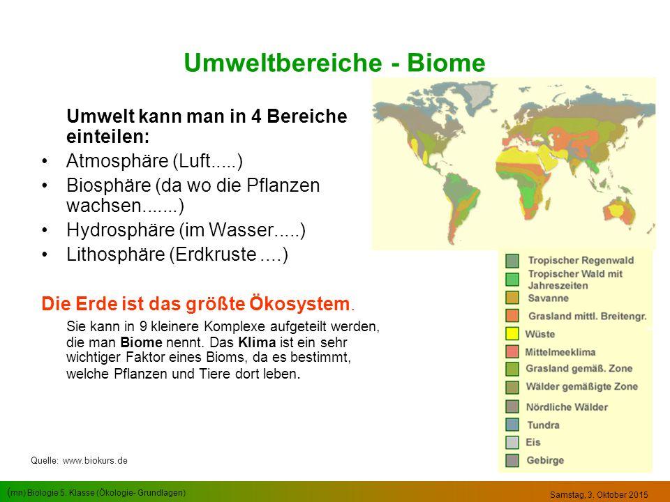 ( mn) Biologie 5. Klasse (Ökologie- Grundlagen) Samstag, 3. Oktober 2015 Umweltbereiche - Biome Umwelt kann man in 4 Bereiche einteilen: Atmosphäre (L