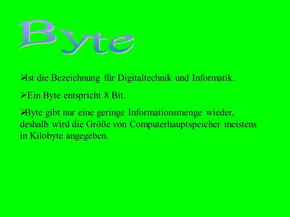  Ist die Bezeichnung für Digitaltechnik und Informatik.  Ein Byte entspricht 8 Bit.  Byte gibt nur eine geringe Informationsmenge wieder, deshalb w