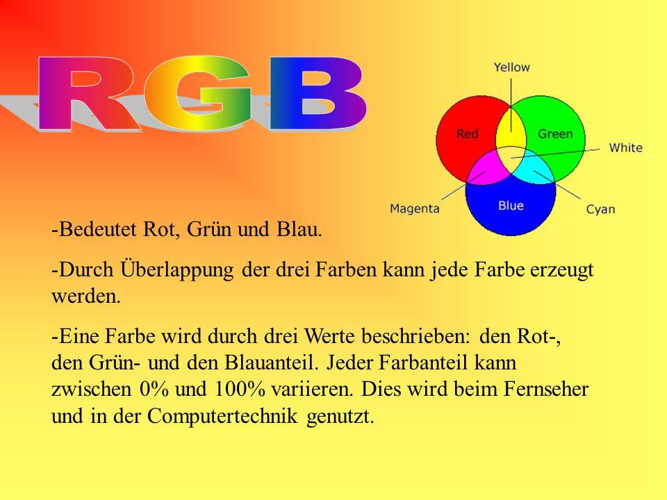 -Bedeutet Rot, Grün und Blau. -Durch Überlappung der drei Farben kann jede Farbe erzeugt werden. -Eine Farbe wird durch drei Werte beschrieben: den Ro