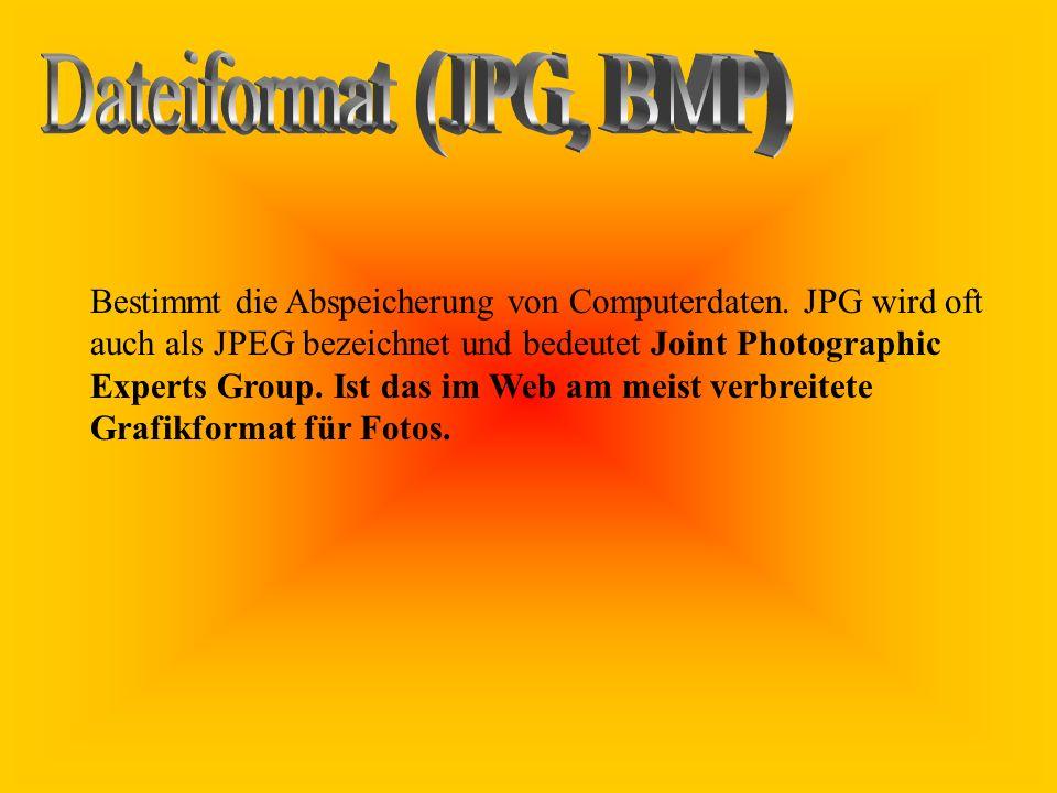 Bestimmt die Abspeicherung von Computerdaten. JPG wird oft auch als JPEG bezeichnet und bedeutet Joint Photographic Experts Group. Ist das im Web am m