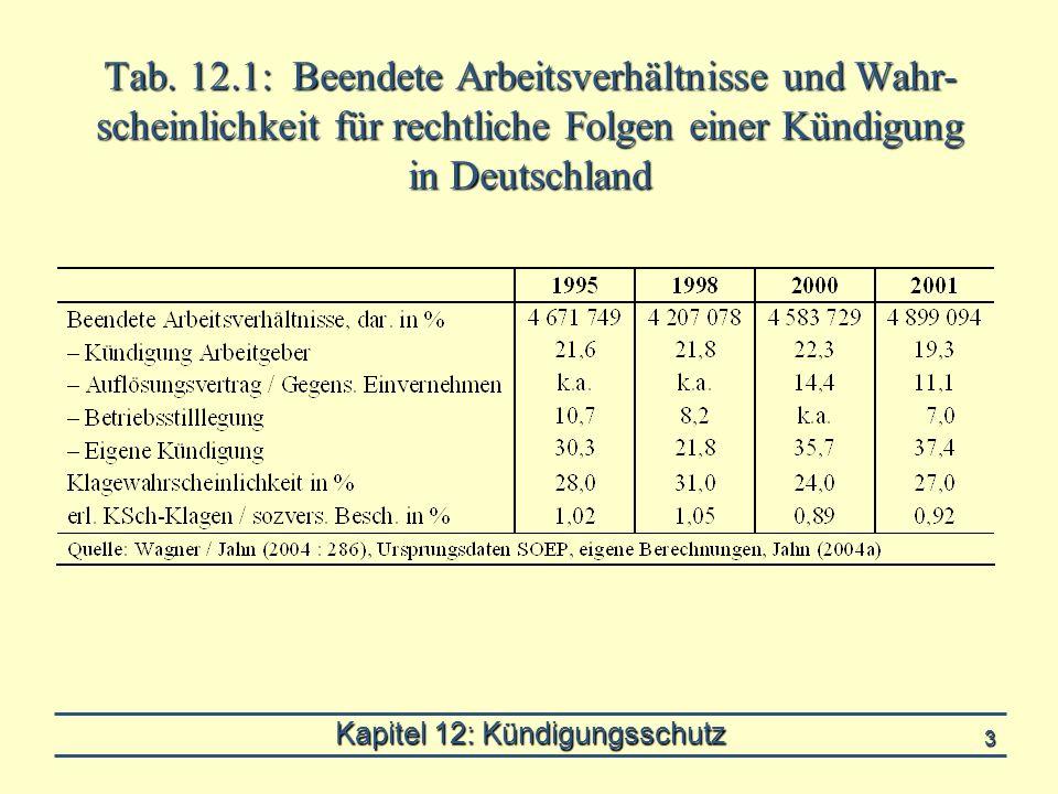 Kapitel 12: Kündigungsschutz 3 Tab. 12.1: Beendete Arbeitsverhältnisse und Wahr- scheinlichkeit für rechtliche Folgen einer Kündigung in Deutschland