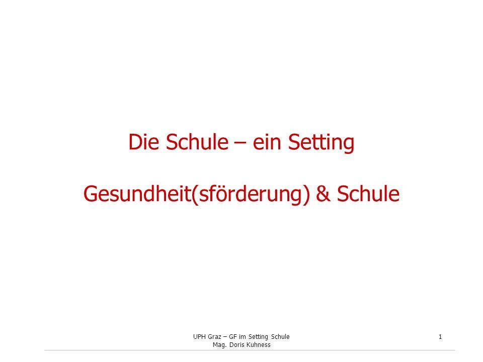 UPH Graz – GF im Setting Schule Mag. Doris Kuhness 1 Die Schule – ein Setting Gesundheit(sförderung) & Schule