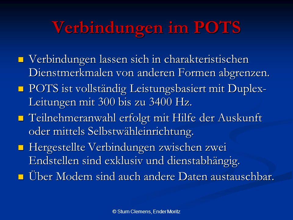 © Sturn Clemens, Ender Moritz Verbindungen im POTS Verbindungen lassen sich in charakteristischen Dienstmerkmalen von anderen Formen abgrenzen. Verbin