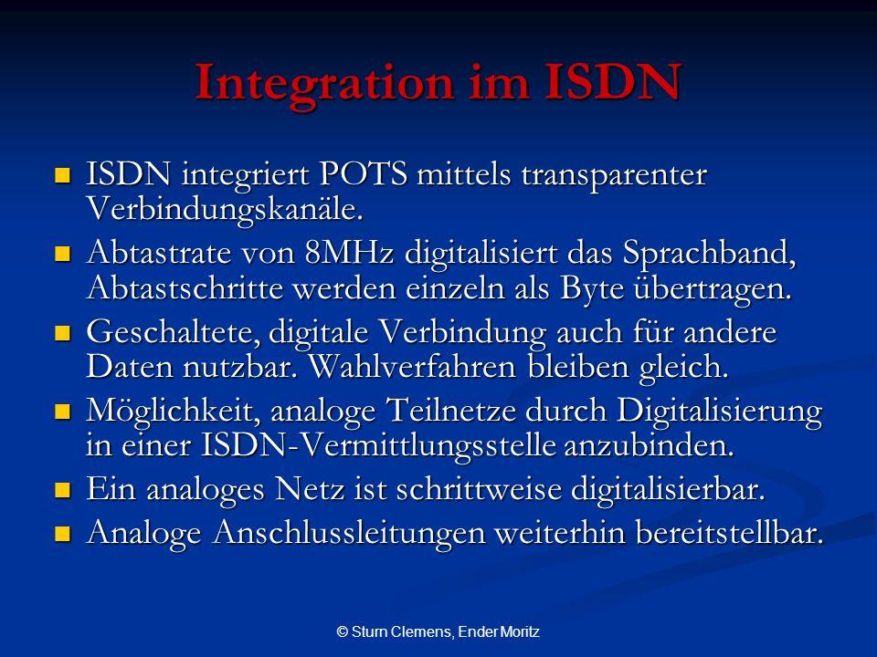 © Sturn Clemens, Ender Moritz Integration im ISDN ISDN integriert POTS mittels transparenter Verbindungskanäle. ISDN integriert POTS mittels transpare