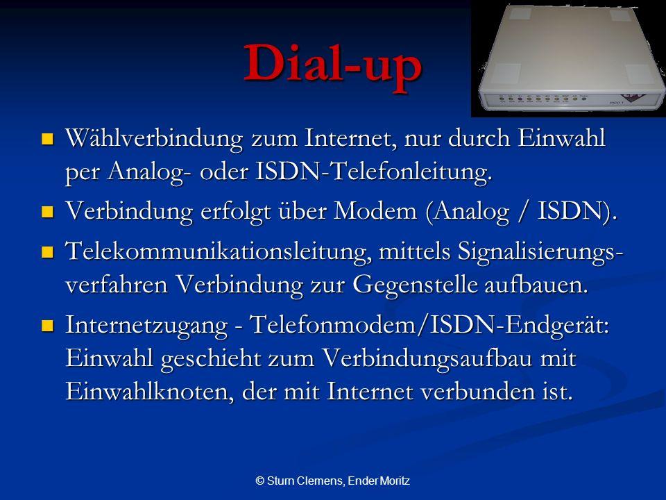 © Sturn Clemens, Ender Moritz Dial-up Wählverbindung zum Internet, nur durch Einwahl per Analog- oder ISDN-Telefonleitung. Wählverbindung zum Internet