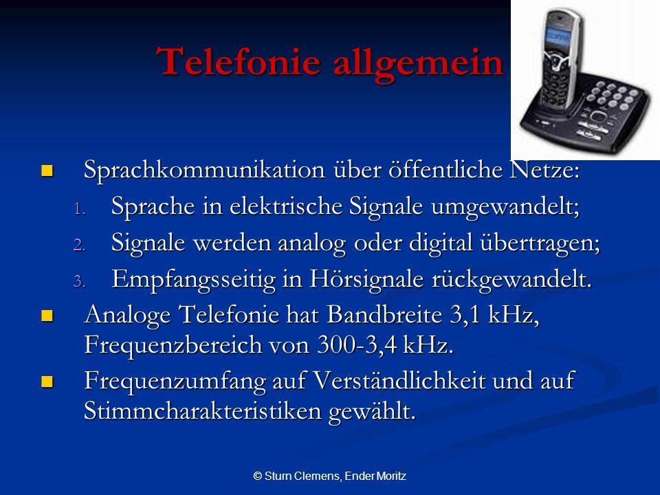 © Sturn Clemens, Ender Moritz Telefonie allgemein Sprachkommunikation über öffentliche Netze: Sprachkommunikation über öffentliche Netze: 1. Sprache i