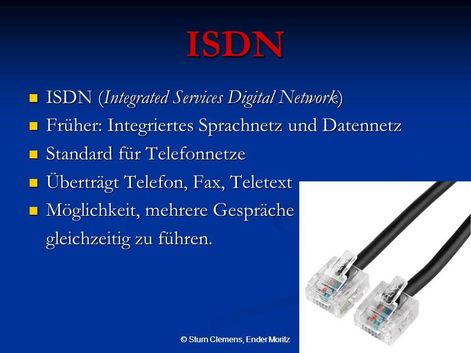 © Sturn Clemens, Ender Moritz ISDN ISDN (Integrated Services Digital Network) ISDN (Integrated Services Digital Network) Früher: Integriertes Sprachne