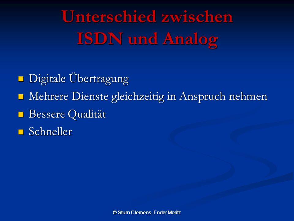 © Sturn Clemens, Ender Moritz Unterschied zwischen ISDN und Analog Digitale Übertragung Digitale Übertragung Mehrere Dienste gleichzeitig in Anspruch