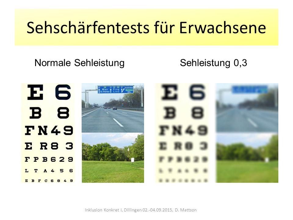 Sehschärfentests für Erwachsene Normale SehleistungSehleistung 0,3 Inklusion Konkret I, Dillingen 02.-04.09.2015, D. Mattson