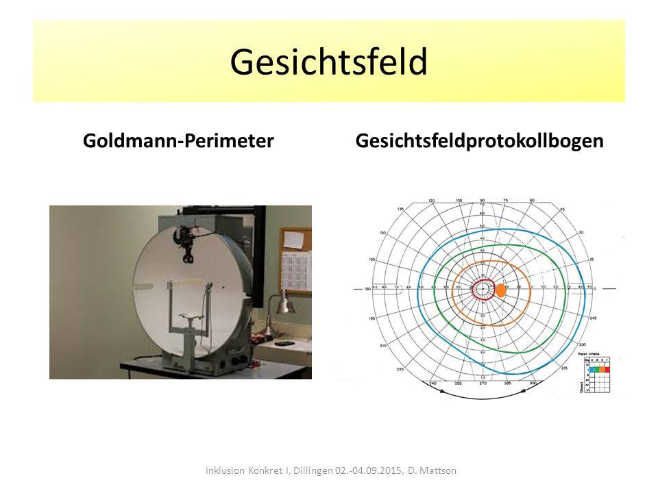 Gesichtsfeld Goldmann-PerimeterGesichtsfeldprotokollbogen Inklusion Konkret I, Dillingen 02.-04.09.2015, D. Mattson