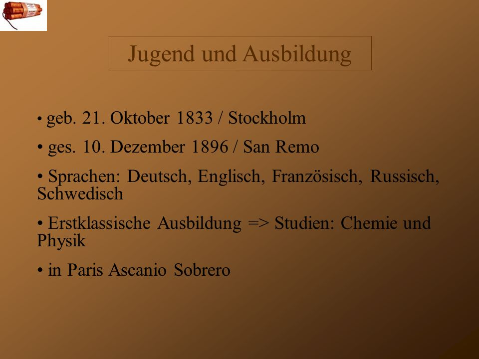 Jugend und Ausbildung geb.21. Oktober 1833 / Stockholm ges.