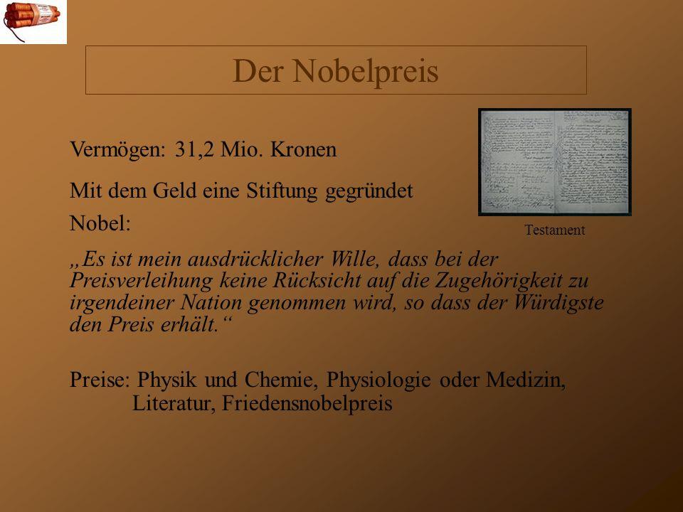 Der Nobelpreis Vermögen: 31,2 Mio.