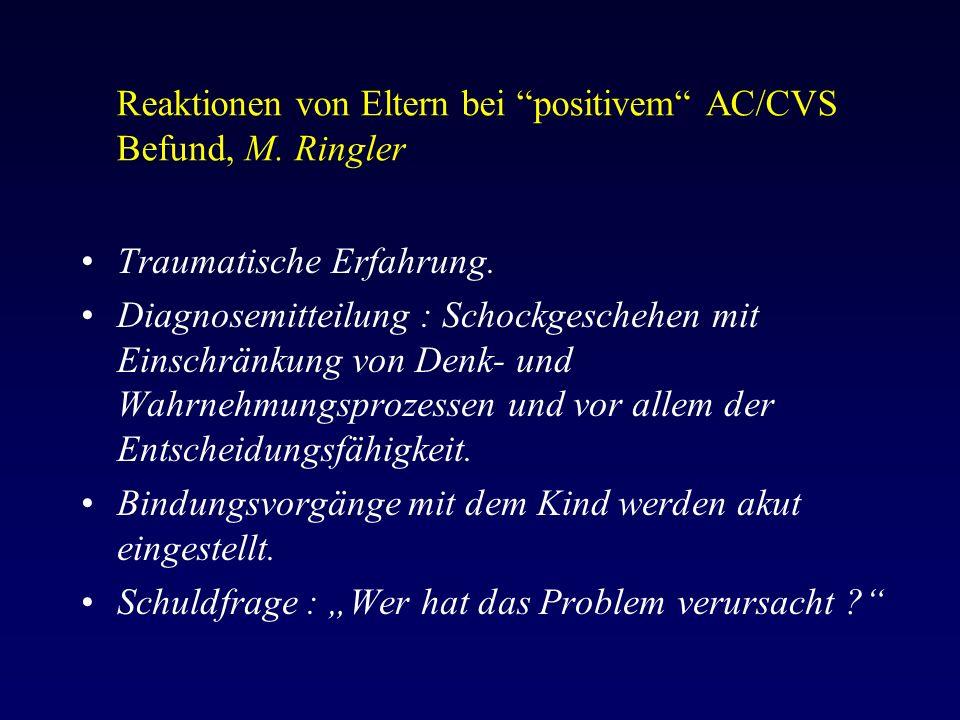 Reaktionen von Eltern bei positivem AC/CVS Befund, M.