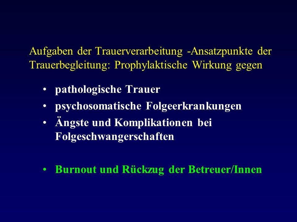 Aufgaben der Trauerverarbeitung -Ansatzpunkte der Trauerbegleitung: Prophylaktische Wirkung gegen pathologische Trauer psychosomatische Folgeerkrankungen Ängste und Komplikationen bei Folgeschwangerschaften Burnout und Rückzug der Betreuer/Innen