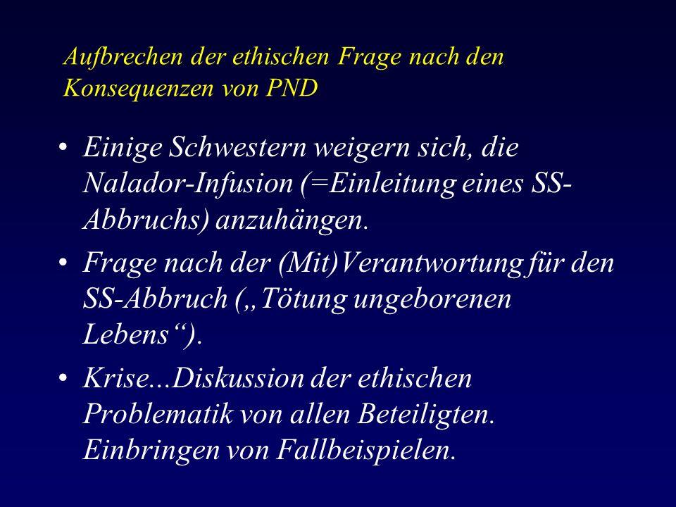 Aufbrechen der ethischen Frage nach den Konsequenzen von PND Einige Schwestern weigern sich, die Nalador-Infusion (=Einleitung eines SS- Abbruchs) anzuhängen.