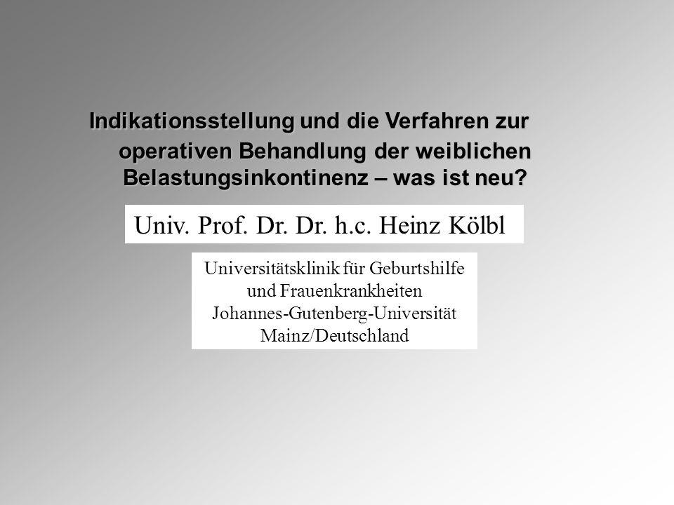 Universitätsklinik für Geburtshilfe und Frauenkrankheiten Johannes-Gutenberg-Universität Mainz/Deutschland Indikationsstellung und die Verfahren zur operativen Behandlung der weiblichen Indikationsstellung und die Verfahren zur operativen Behandlung der weiblichen Belastungsinkontinenz – was ist neu.
