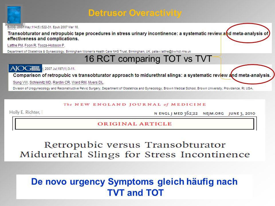 16 RCT comparing TOT vs TVT Detrusor Overactivity De novo urgency Symptoms gleich häufig nach TVT and TOT et al