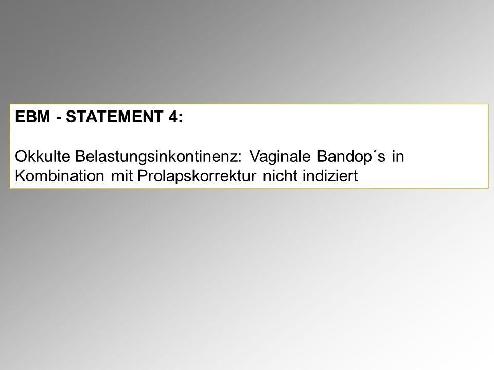 EBM - STATEMENT 4: Okkulte Belastungsinkontinenz: Vaginale Bandop´s in Kombination mit Prolapskorrektur nicht indiziert