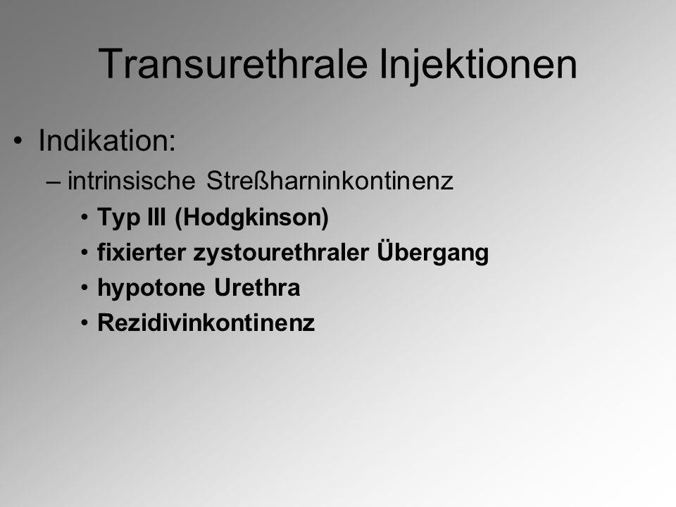 Transurethrale Injektionen Indikation: –intrinsische Streßharninkontinenz Typ III (Hodgkinson) fixierter zystourethraler Übergang hypotone Urethra Rezidivinkontinenz