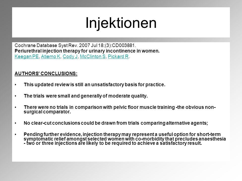 Injektionen Cochrane Database Syst Rev.2007 Jul 18;(3):CD003881.
