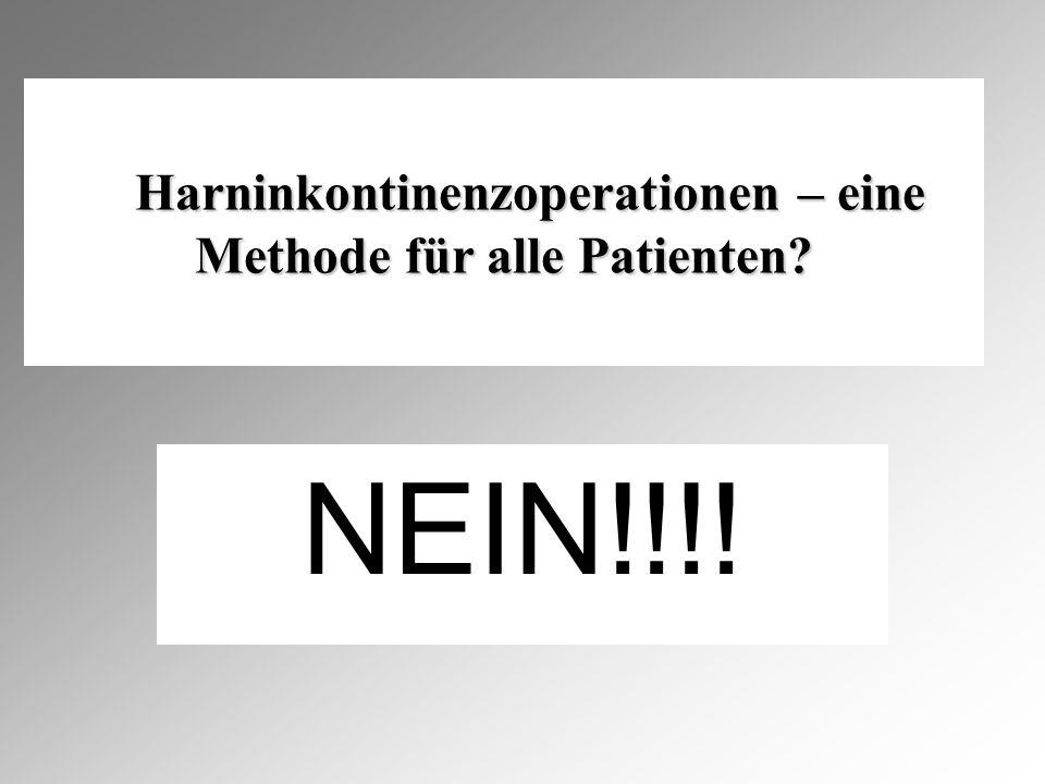 NEIN!!!.Harninkontinenzoperationen – eine Methode für alle Patienten.