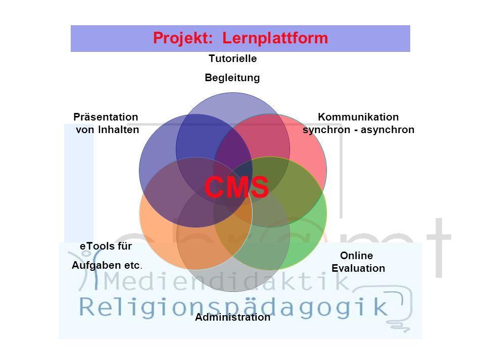Projekt: Lernplattform Tutorielle Begleitung Kommunikation synchron - asynchron Online Evaluation Administration eTools für Aufgaben etc.