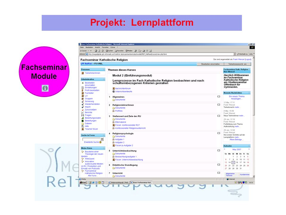 Projekt: Lernplattform Fachseminar Module