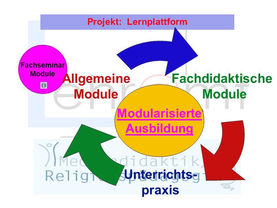 Projekt: Lernplattform Fachseminar Module Fachdidaktische Module Unterrichts- praxis Allgemeine Module Modularisierte Ausbildung Modularisierte Ausbildung