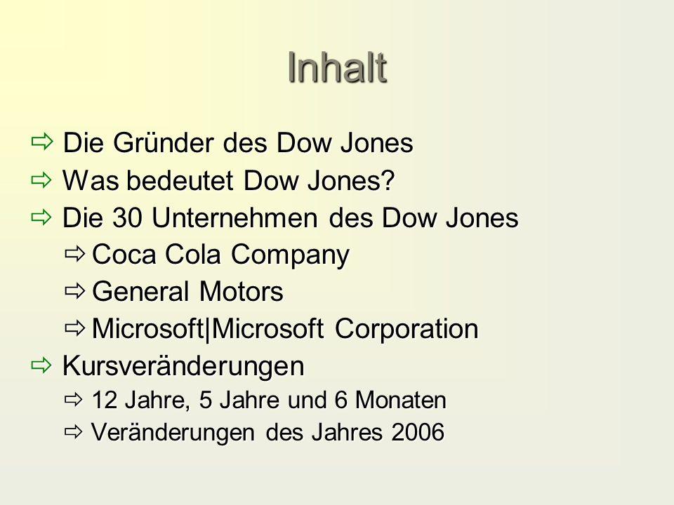 Inhalt  Die Gründer des Dow Jones  Was bedeutet Dow Jones?  Die 30 Unternehmen des Dow Jones  Coca Cola Company  General Motors  Microsoft|Micro
