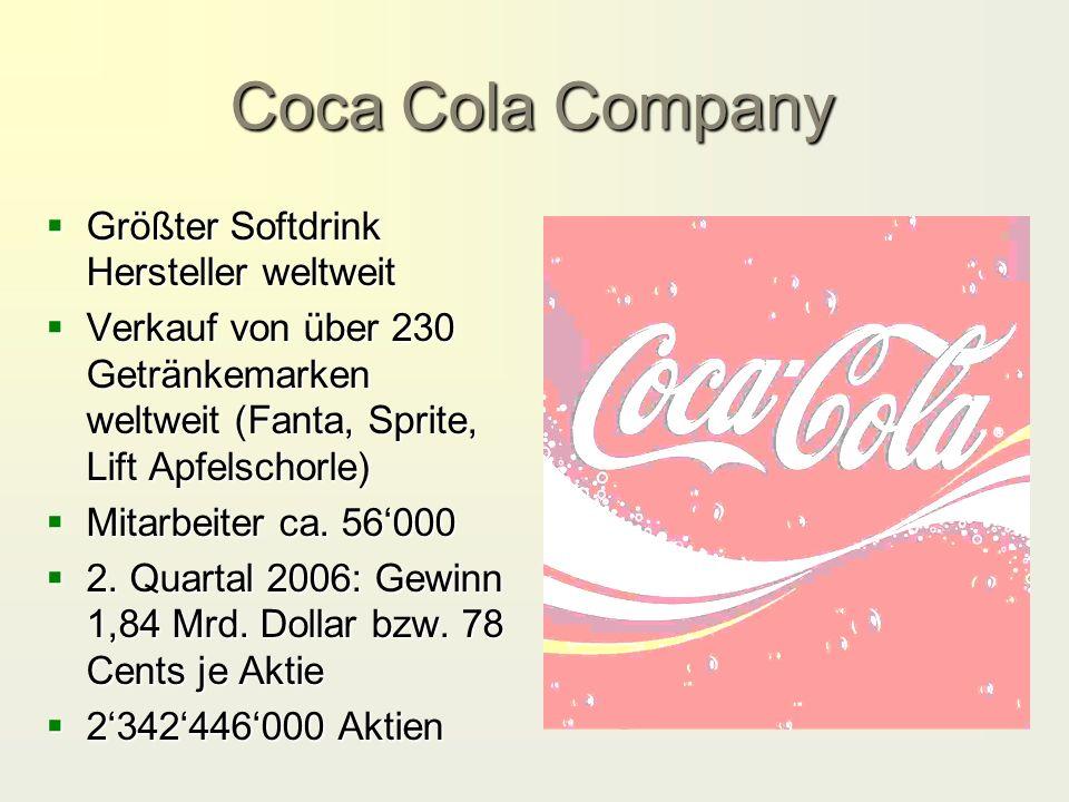 Coca Cola Company  Größter Softdrink Hersteller weltweit  Verkauf von über 230 Getränkemarken weltweit (Fanta, Sprite, Lift Apfelschorle)  Mitarbeiter ca.