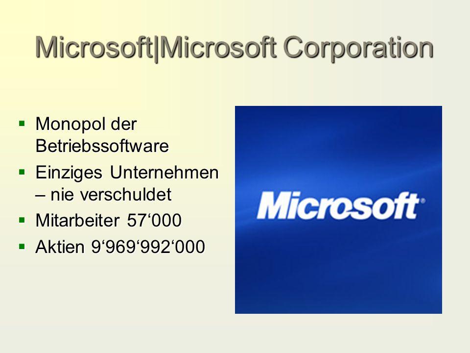 Microsoft|Microsoft Corporation  Monopol der Betriebssoftware  Einziges Unternehmen – nie verschuldet  Mitarbeiter 57'000  Aktien 9'969'992'000