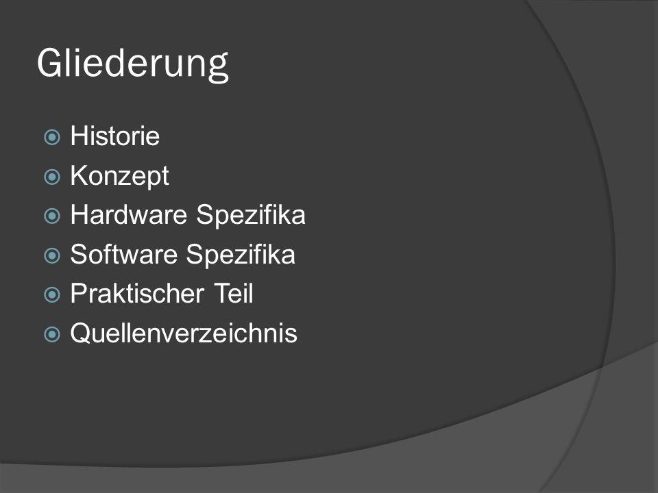 Gliederung  Historie  Konzept  Hardware Spezifika  Software Spezifika  Praktischer Teil  Quellenverzeichnis
