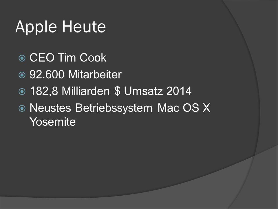 Apple Heute  CEO Tim Cook  92.600 Mitarbeiter  182,8 Milliarden $ Umsatz 2014  Neustes Betriebssystem Mac OS X Yosemite