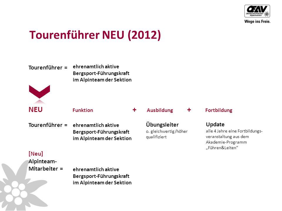Tourenführer = Tourenführer NEU (2012) Tourenführer = Übungsleiter o.