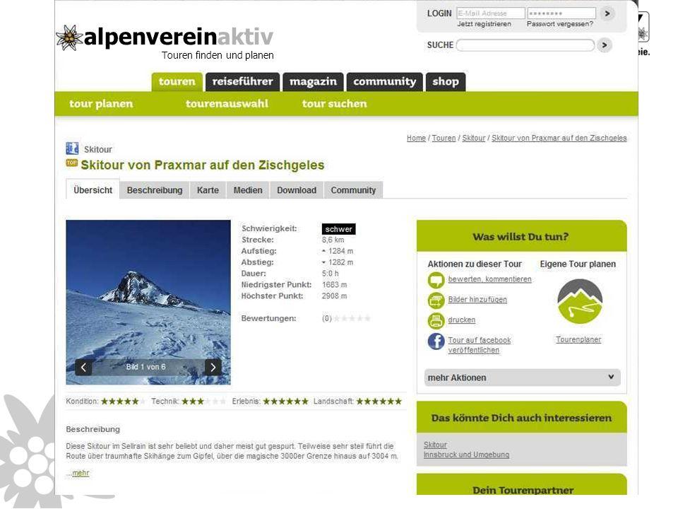 alpenvereinaktiv Touren finden und planen