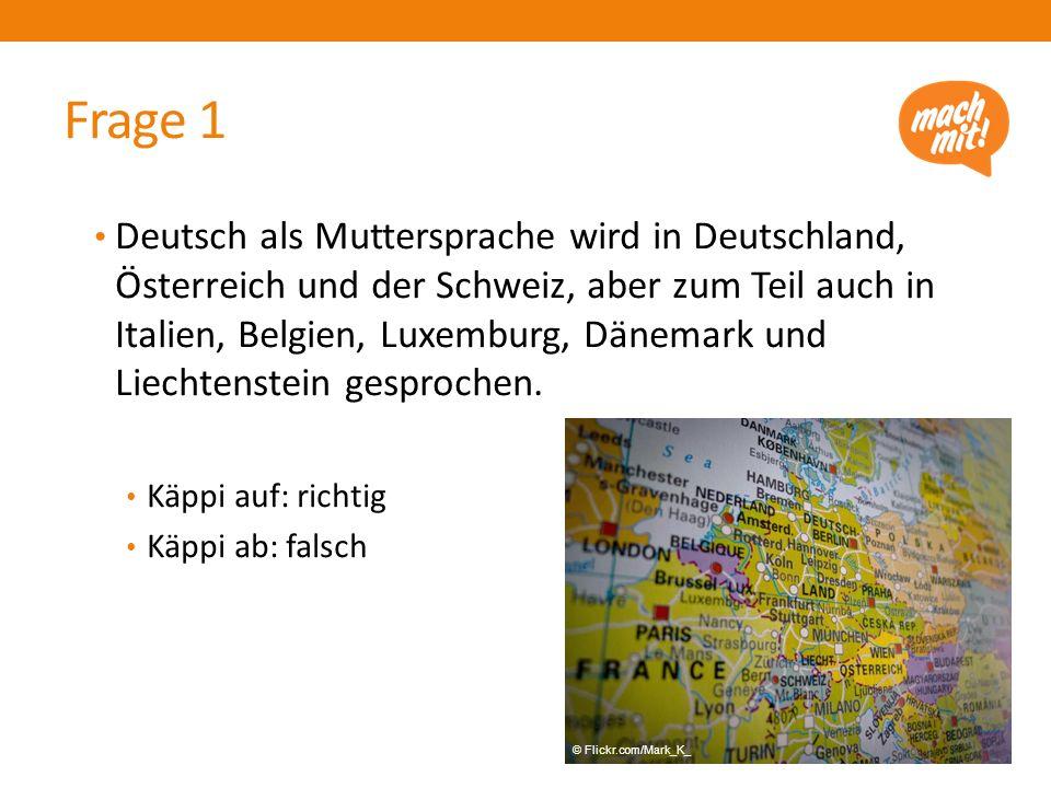 Deutsch als Muttersprache wird in Deutschland, Österreich und der Schweiz, aber zum Teil auch in Italien, Belgien, Luxemburg, Dänemark und Liechtenste