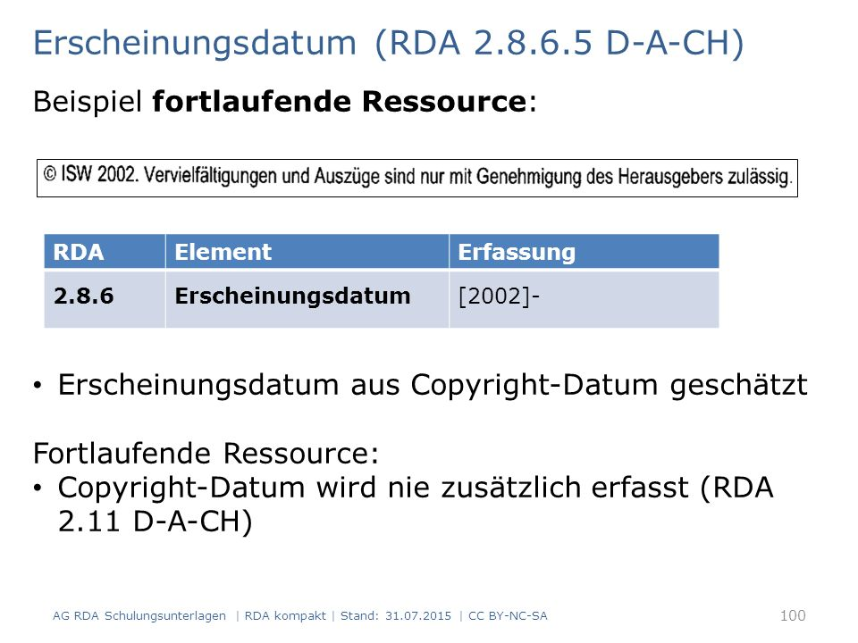 Erscheinungsdatum (RDA 2.8.6.5 D-A-CH) Beispiel fortlaufende Ressource: RDAElementErfassung 2.8.6Erscheinungsdatum[2002]- Erscheinungsdatum aus Copyright-Datum geschätzt Fortlaufende Ressource: Copyright-Datum wird nie zusätzlich erfasst (RDA 2.11 D-A-CH) AG RDA Schulungsunterlagen | RDA kompakt | Stand: 31.07.2015 | CC BY-NC-SA 100