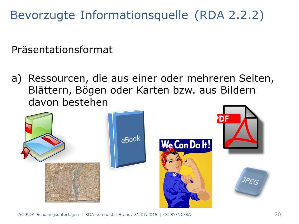 Präsentationsformat a)Ressourcen, die aus einer oder mehreren Seiten, Blättern, Bögen oder Karten bzw.