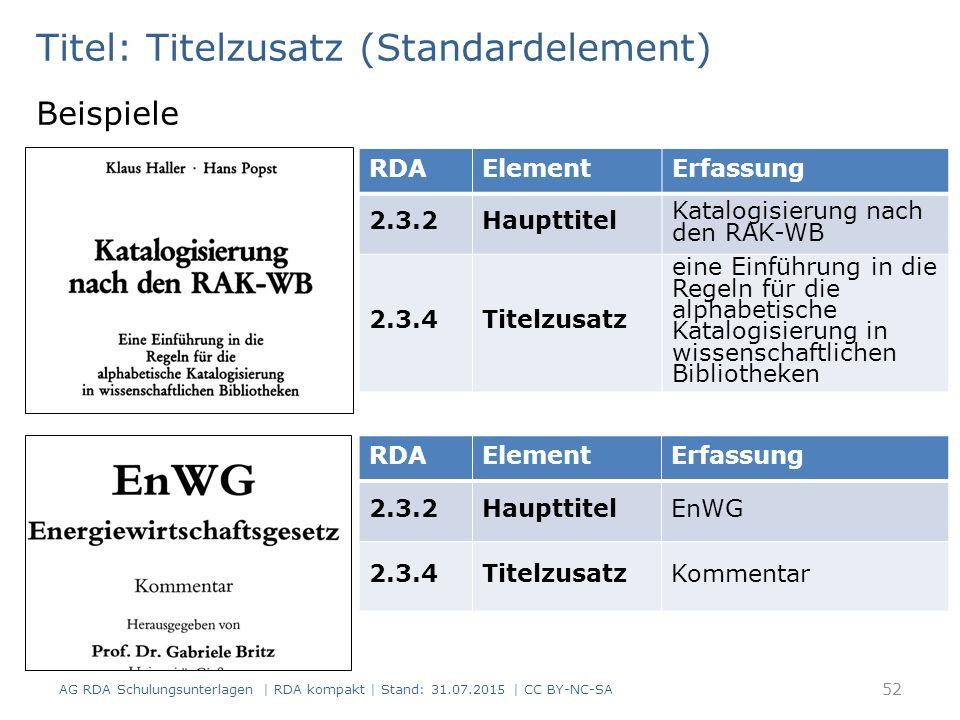 Titel: Titelzusatz (Standardelement) Beispiele RDAElementErfassung 2.3.2Haupttitel Katalogisierung nach den RAK-WB 2.3.4Titelzusatz eine Einführung in die Regeln für die alphabetische Katalogisierung in wissenschaftlichen Bibliotheken RDAElementErfassung 2.3.2HaupttitelEnWG 2.3.4TitelzusatzKommentar 52 AG RDA Schulungsunterlagen | RDA kompakt | Stand: 31.07.2015 | CC BY-NC-SA