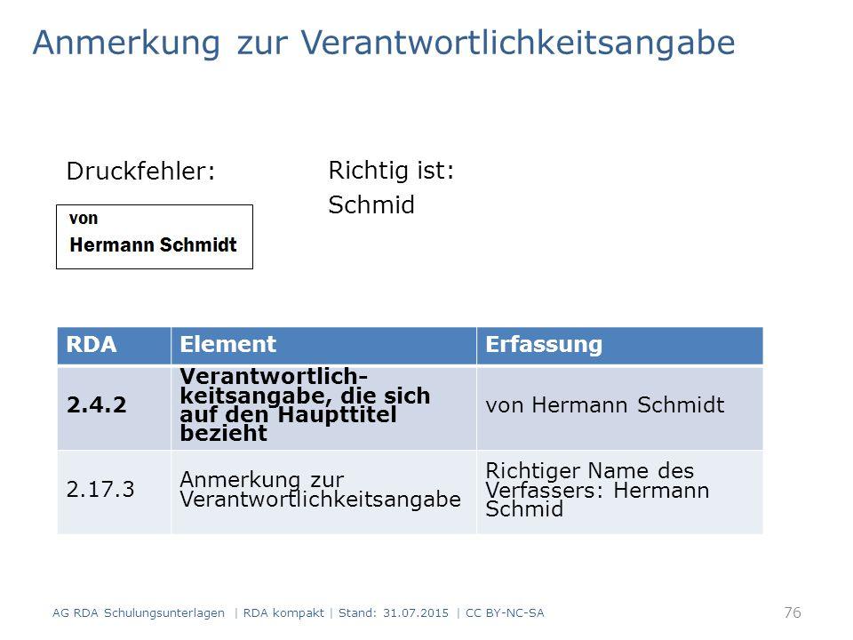 Anmerkung zur Verantwortlichkeitsangabe Druckfehler: AG RDA Schulungsunterlagen | RDA kompakt | Stand: 31.07.2015 | CC BY-NC-SA RDAElementErfassung 2.4.2 Verantwortlich- keitsangabe, die sich auf den Haupttitel bezieht von Hermann Schmidt 2.17.3 Anmerkung zur Verantwortlichkeitsangabe Richtiger Name des Verfassers: Hermann Schmid Richtig ist: Schmid 76