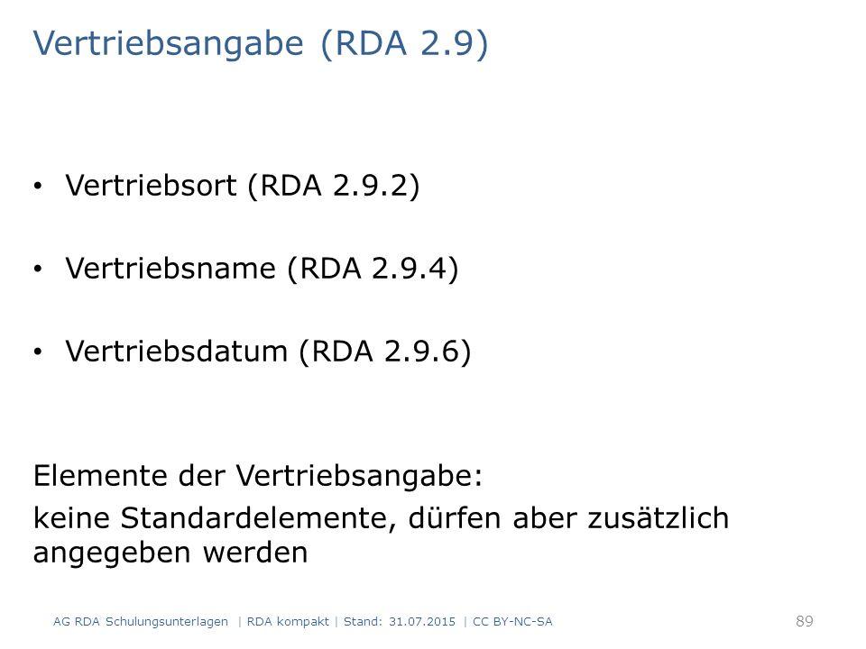 Vertriebsangabe (RDA 2.9) Vertriebsort (RDA 2.9.2) Vertriebsname (RDA 2.9.4) Vertriebsdatum (RDA 2.9.6) Elemente der Vertriebsangabe: keine Standardelemente, dürfen aber zusätzlich angegeben werden AG RDA Schulungsunterlagen | RDA kompakt | Stand: 31.07.2015 | CC BY-NC-SA 89