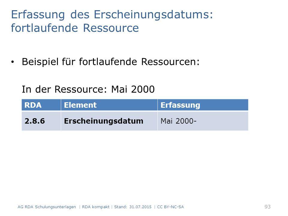 Erfassung des Erscheinungsdatums: fortlaufende Ressource Beispiel für fortlaufende Ressourcen: In der Ressource: Mai 2000 RDAElementErfassung 2.8.6ErscheinungsdatumMai 2000- AG RDA Schulungsunterlagen | RDA kompakt | Stand: 31.07.2015 | CC BY-NC-SA 93