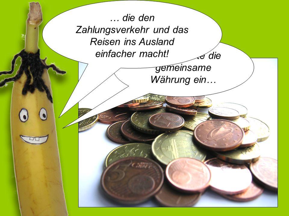 Die EU führte die gemeinsame Währung ein… … die den Zahlungsverkehr und das Reisen ins Ausland einfacher macht!